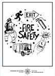 Fire Safety drawing with exit sign, firefighters and engine